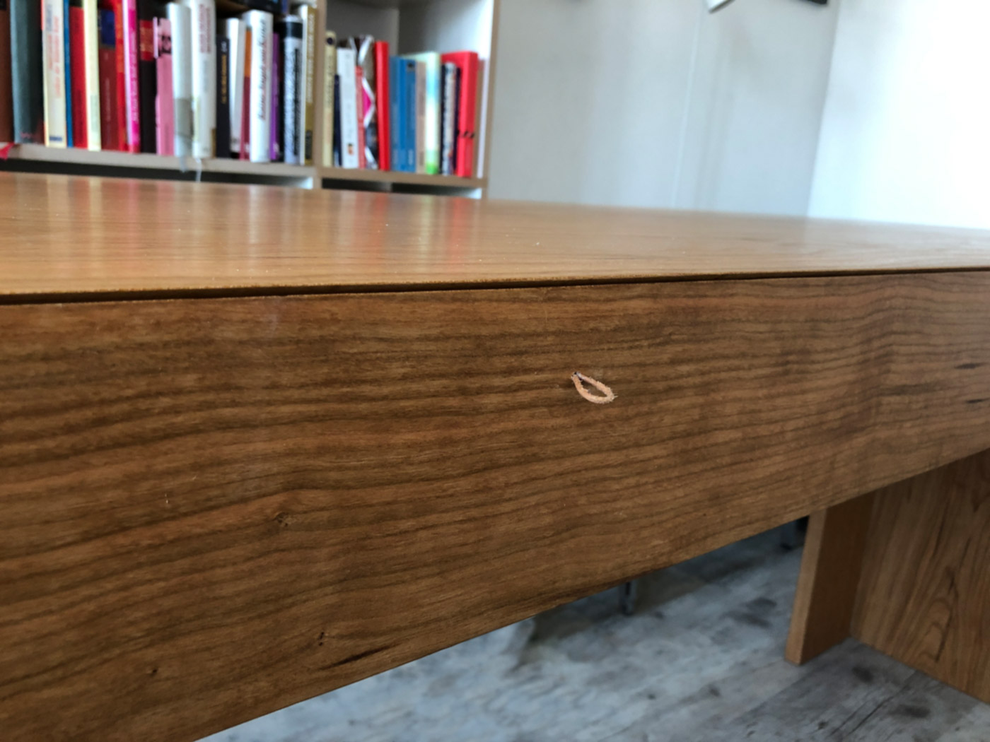 DESKTOP @ 2018, solid American walnut, made of one big tree, handles of oiled leather straps, 300 x 65 x 79 cm